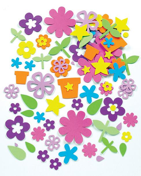 Pěnové samolepky zahradní květiny výhodné balení