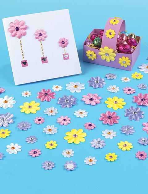 Samolepící saténové květiny s kamínkem