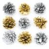 Zlatá a støíbrné borové šišky (12 kusù) - AV628