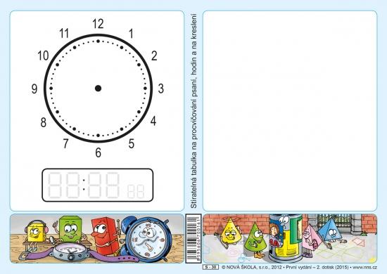 Stíratelná tabulka na procvičování psaní, hodin a na kreslení (Nová řada)