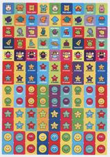 12mm ètvereèkové samolepky s rùznými motivy, èeské nápisy, 5 archù, 585 nálepek