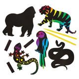 Magnetky zvíøátka z džungle barvené škrabáním (12ks)