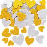 Pìnové samolepky zlatá a støíbrná srdce (150ks) AX309